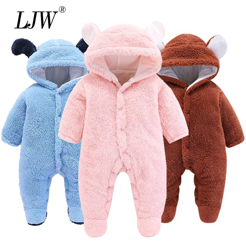Осень зима детская одежда комбинезона толстые пух детские комбинезоны для детских девочек комбинезон теплый костюм новорожденных детские мальчики одежда 201114