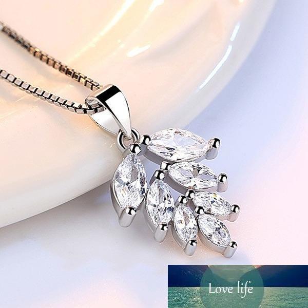 100% 925 Ayar Gümüş Moda Parlak Kristal Buz Yaprakları Bayan Kolye Kadınlar Takı Kısa Kutu Zincir Drop Shipping