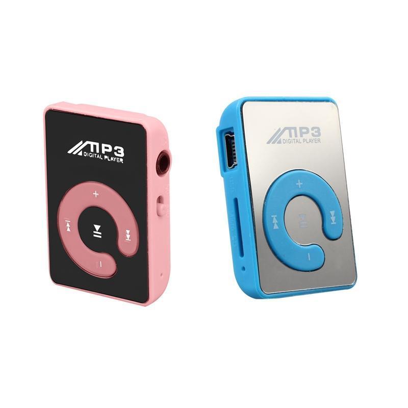 2 Pcs Mini Mirror Clip USB Digital Mp3 Music Player Support 8GB SD TF Card , Pink & Blue