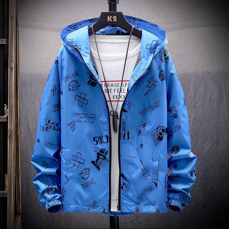 Printemps et été 2020 Veste de motif non traditionnel, veste pour hommes légers, veste occasionnelle de la mode Homme à capuche LJ201013