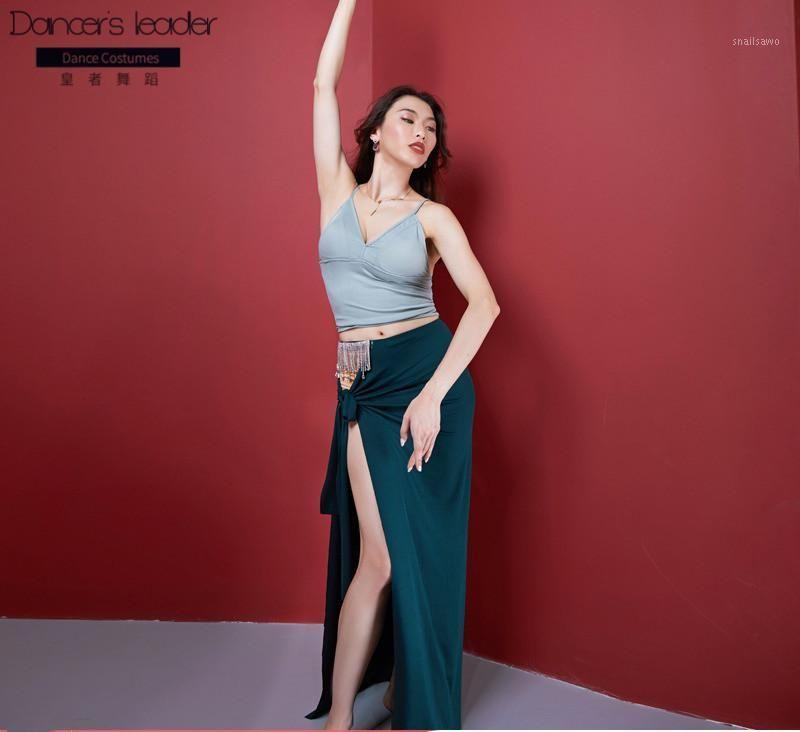 Сцена носить 2021 женский танец живота костюм сексуальный подтяжки верхняя бахрома алмазная цепь юбка неба танцевальная одежда Suite1