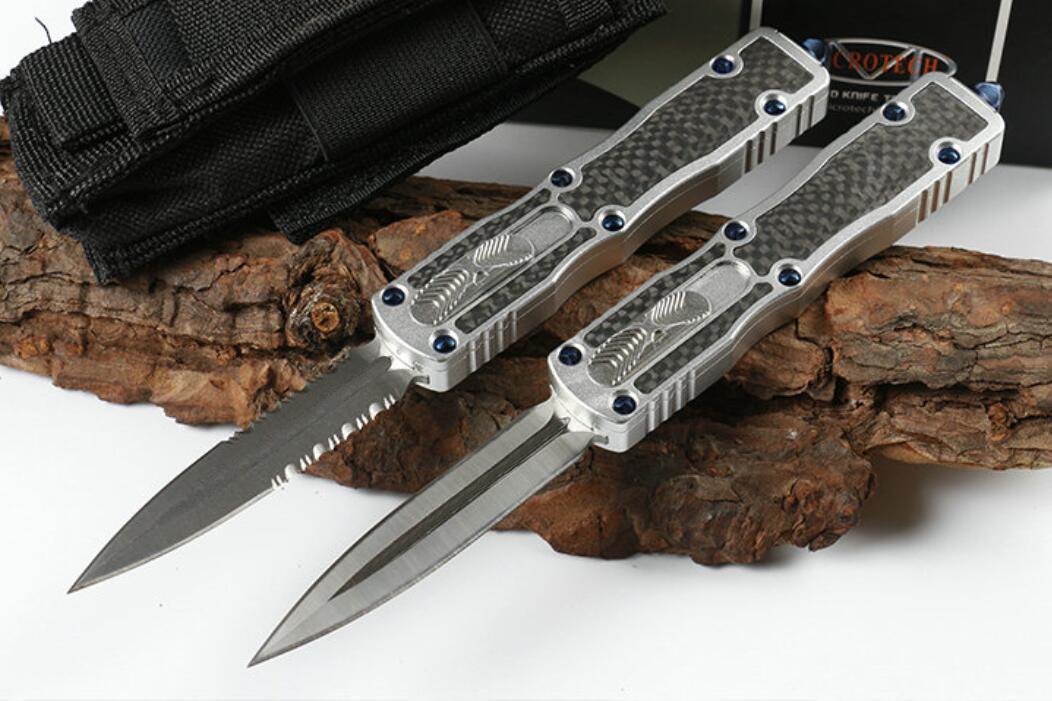 high-end carbon fibre Straight out Tactical automatic knife AUTO D2 blade CNC aluminium alloy&carbon fibre handle Camping Tactical Combat
