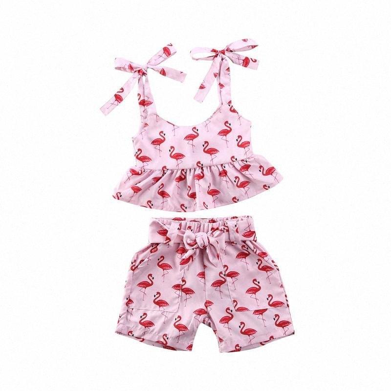 0-24M Flamingo Newborn Infant Baby Girls Clothes Vest Top Shorts Summer Outfit Set KkRo#
