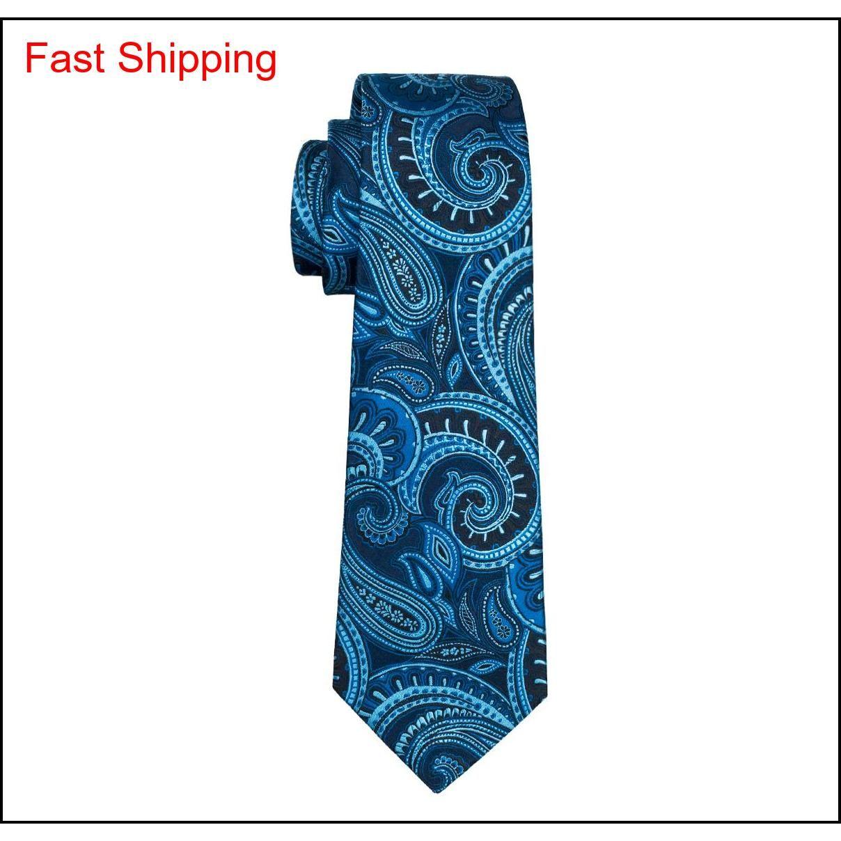 Crassici da uomo in seta Cravatte Blue Tie Set Paisley Men Ties Tie Tie Hanky Gemelli Jacquard Incontro commerciale tessuto Woven We Qylluu Queen66