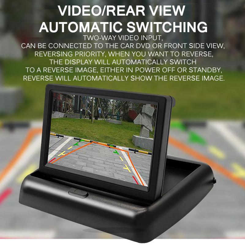 """4.3"""" moniteur de vision nocturne pliable \ \ 124; « 3D, rétroviseur de voiture, sauvegarde caméra de recul, kit de système de stationnement, interface AV"""