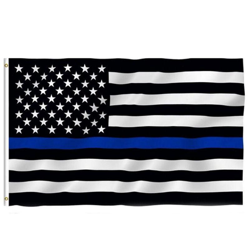 Bandeira de Linha Azul Fina Bandeira da Polícia Americana 3x5ft EUA Banner País Elecional Geral para Trump Fans W77