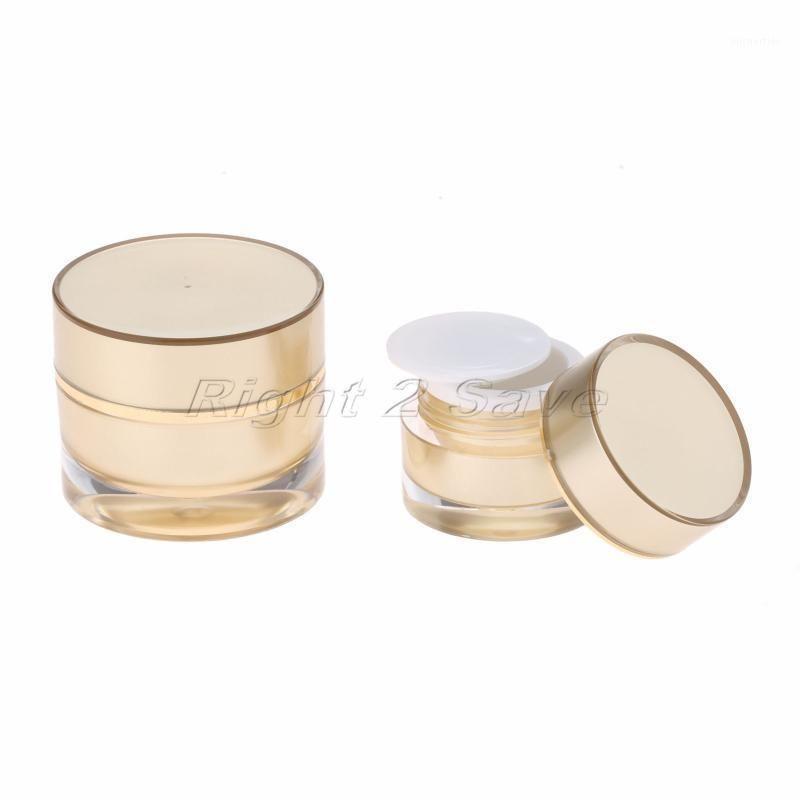 Tarro acrílico 5G / 10G Oro Crema de cara Crema Cosmética Contenedor Cosméticos Vacío Empaquetado Redondo Botella Portátil Viaje Portátil Herramienta de maquillaje