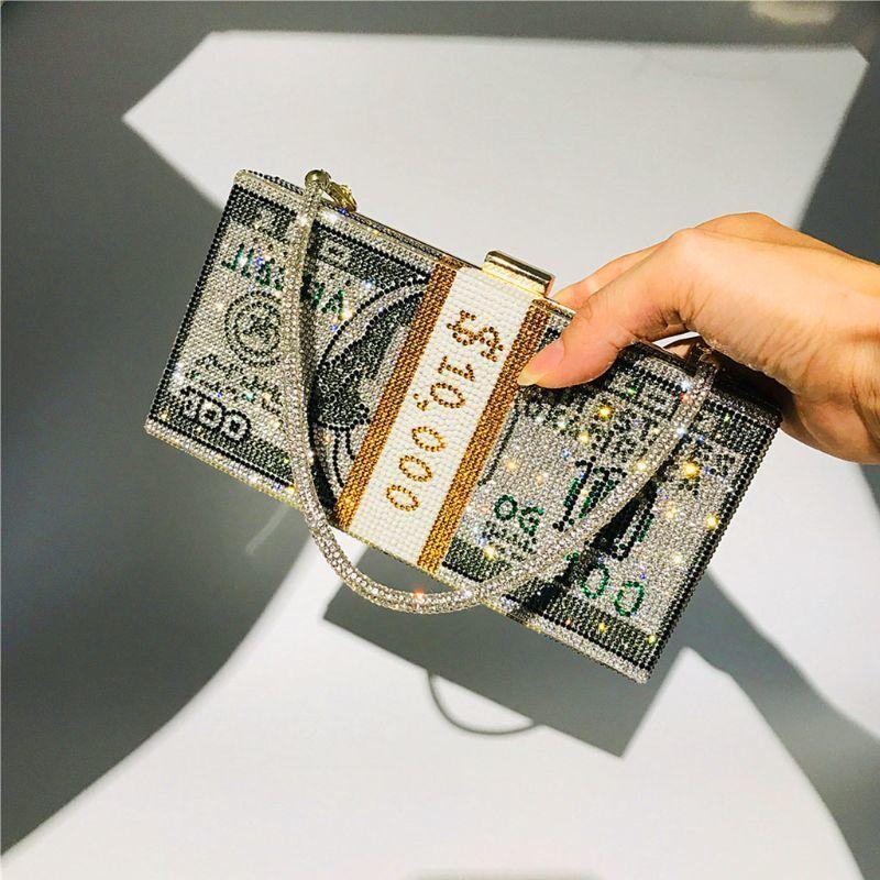 Luxus Handtaschen Frauen Taschen Designer Geld Clutch Strass Geldbörse 10000 Dollar Stapel Bargeldabend Handtaschen Umhängetasche C1009