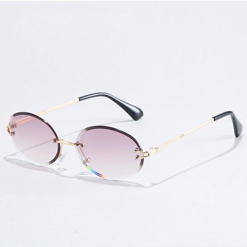 New Arrival Frameless Trimmed Women Sunglasses Fashion Small Round Sun Glasses Metal Temples 7 Colors Wholesale