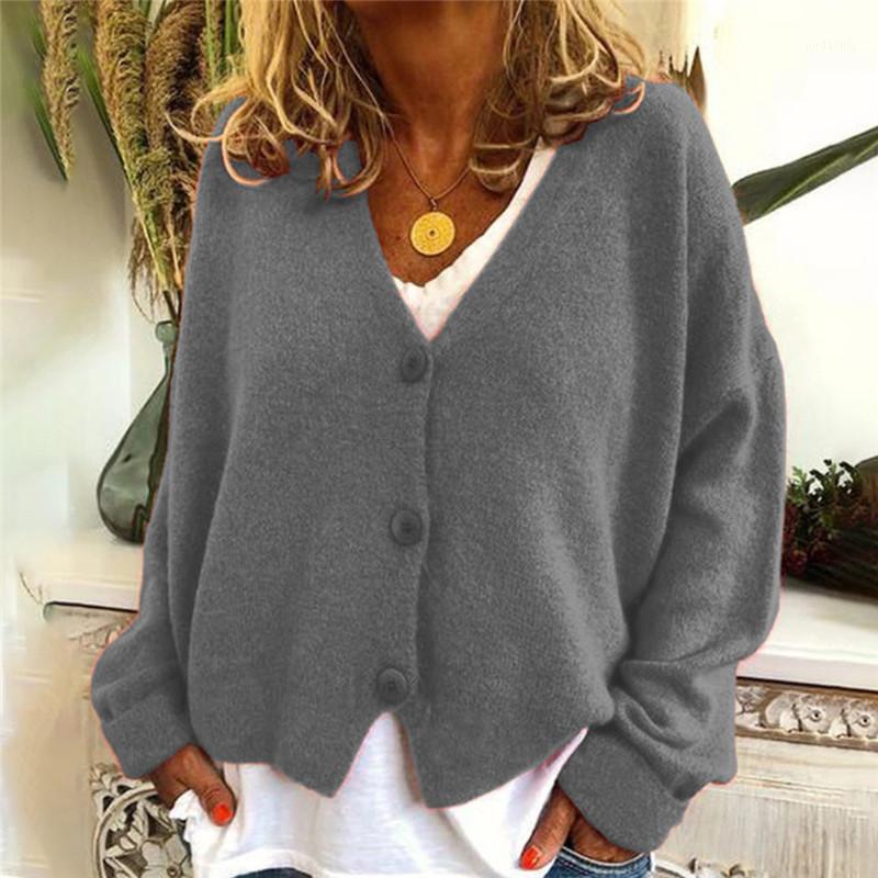 Свободные повседневные с длинным рукавом V шеи вязаные свитер Женщины 2021 осень зимняя одежда плюс размер кардиган вязание свитеров тянуть Femme Top1