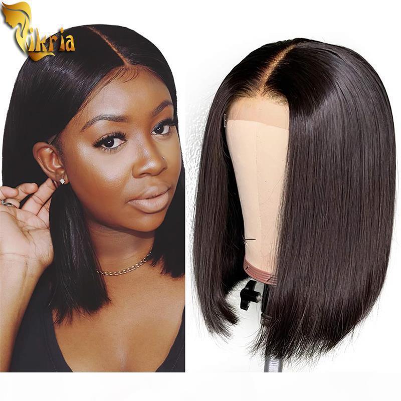Belleza corta recta BOB 13x4 Peluca delantera de encaje con encaje completo Peluca de cabello humano 8 ~ 14 pulgadas 130% ~ 150% Densidad con cabello bebé para mujeres negras brasileño