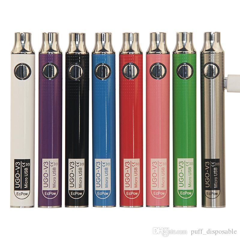 Authentic ugo v III V3 650 900mAh EGO Ego 510 Bateria 8Colors Micro USB Baterias Vape Vape Vs Spinner 3S Bateria