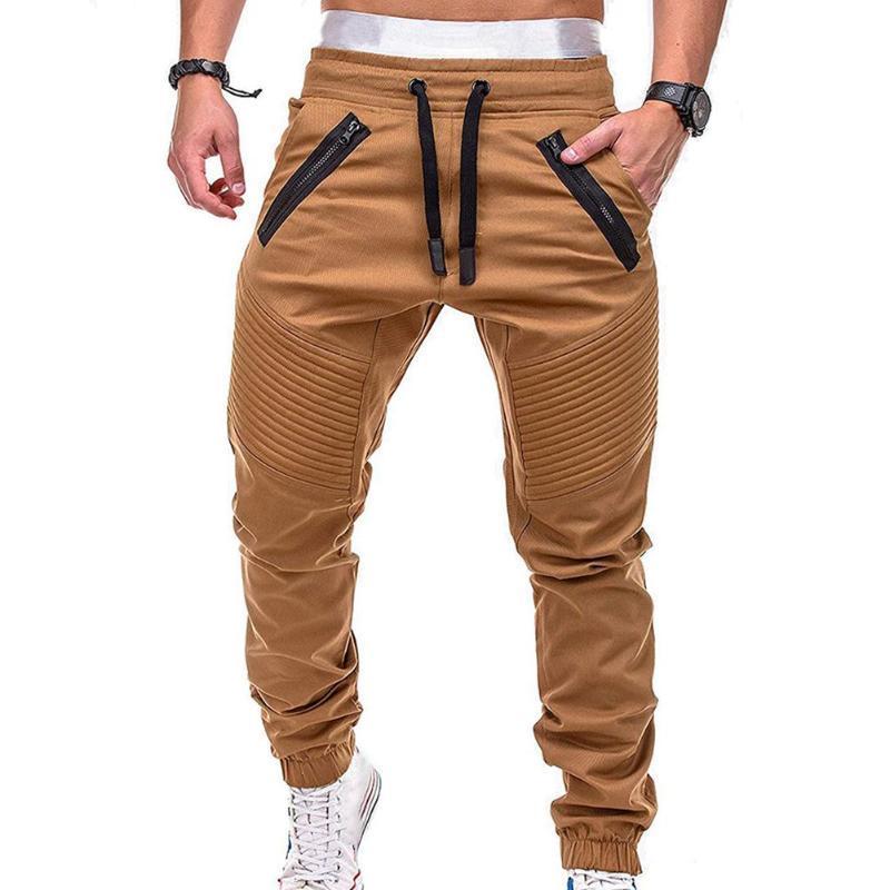 Мужские брюки спортивные бегущие моды модные шнурки молнии полоски карманы лодыжки связаны длинные брюки