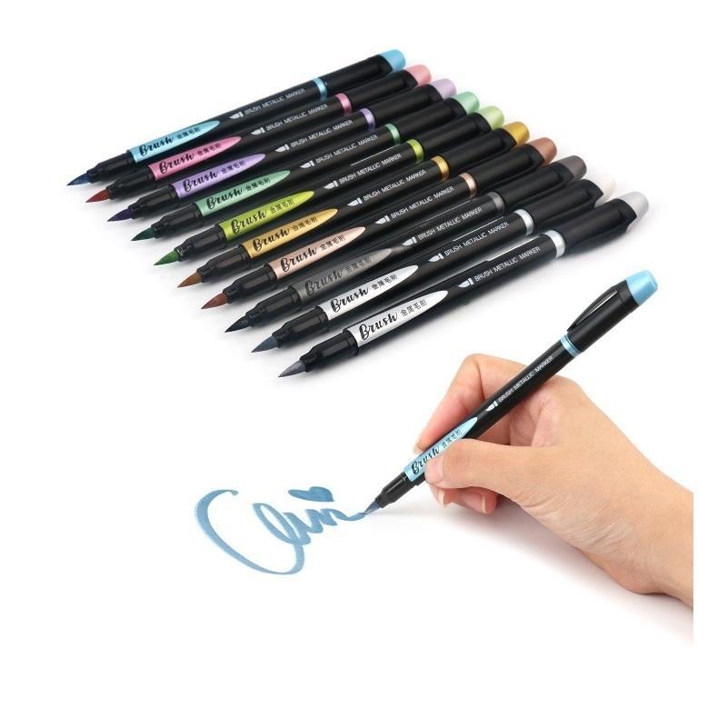 10 pcs cor pincel metálico marcador caneta conjunto 1-7mm ponto macio desenho pintura destacando caligrafia lettering escola arte a6929 201125