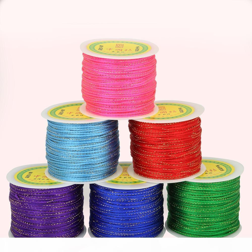 2 мм 100 ярдов рулон корейский шелковый шнур китайский узел кадр макраме веревка для изготовления браслетов нить нить DIY ювелирные изделия аксессуары