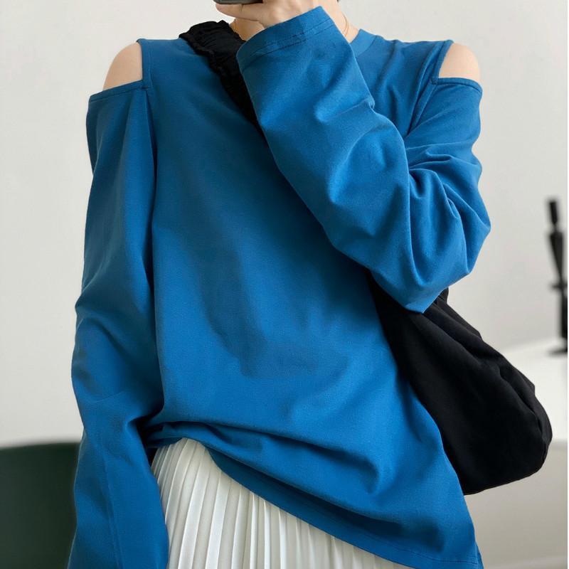 Kadınlar Gevşek Tişörtler Katı dibe Uzun Kollu askısız Casual Kore Minimalist Stil Sonbahar bahar Tees Tops