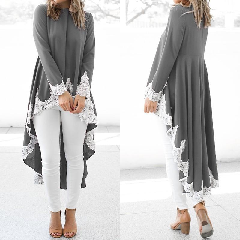 M 5XL ZANZEA Bahar Gömlek Vestido Kadınlar Katı Dantel Patchwork Bluz Moda Uzun Kollu Asimetrik Tunik Kadın Chemise1 Tops