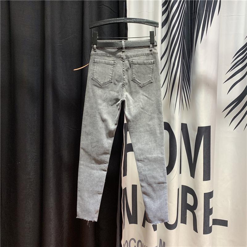 Gri Jeans Kadın Kişilik Dikiş Boncuklu Kot Pantolon Kadınlar 2020 İlkbahar Yeni Yüksek Bel Skinny Stretch Kalem Pantolon
