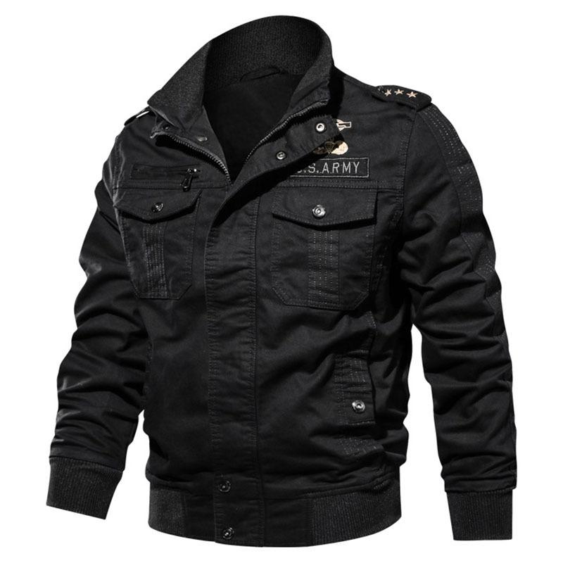 Chaqueta de bombardero nuevos hombres de militar masculino bordado 6XL algodón grasa chaqueta delgada capa ocasional de los hombres Marca Clohing outwear la capa BF9931 X1025