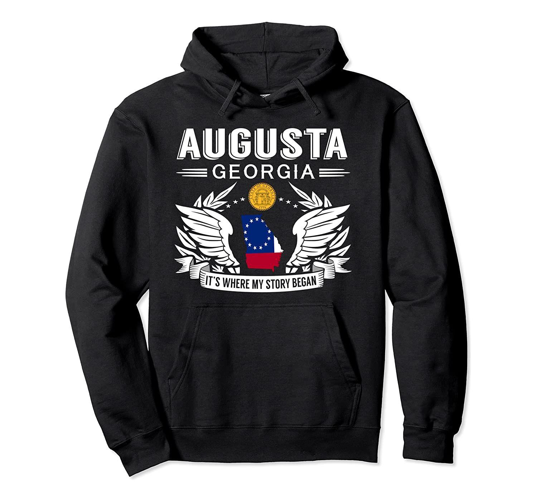 Augusta Géorgie Hoodie unisexe Taille S-5XL avec Couleur Noir / Gris / Marine / Bleu Royal / Dark Heather Où mon histoire a commencé Hometown Sweat à capuche Un