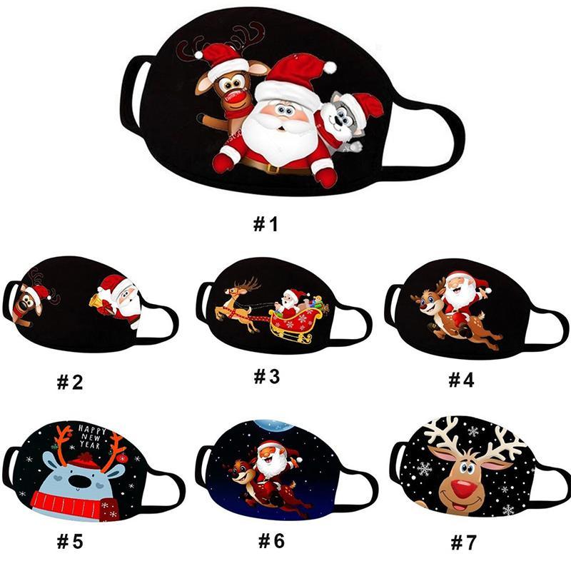 Masques de visage de Noël de Noël Bouche Couverture réutilisable Lavable Cartoon Imprimé anti-poussière Masque Adulte Enfant Noir Polyester Coton
