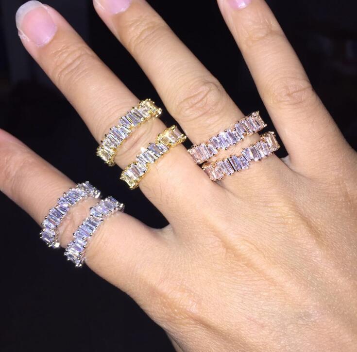 힙합 아이스 아웃 링 CZ 스톤 테니스 반지 여성 매력의 럭셔리 쥬얼리 크리스탈 지르콘 다이아몬드 로즈 골드 실버 결혼 선물