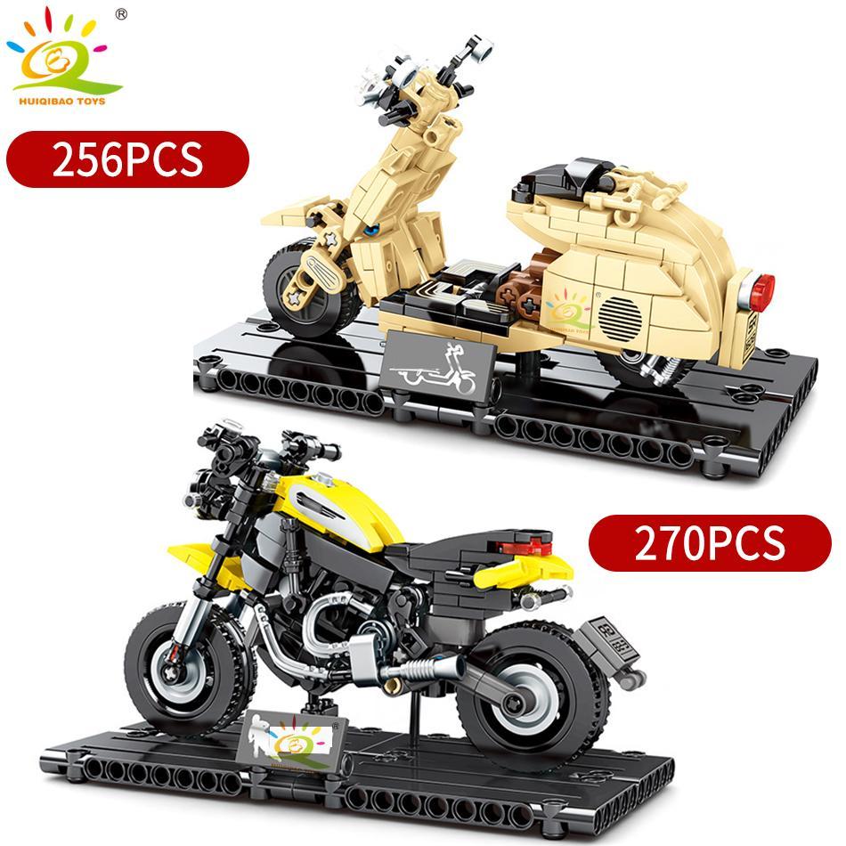 Huiqibao Motocicleta Modelo Bloques de construcción Campeones de velocidad Ciclo automático Moto Coche Técnico Técnica Ladrillos Juguetes educativos para niños Niño