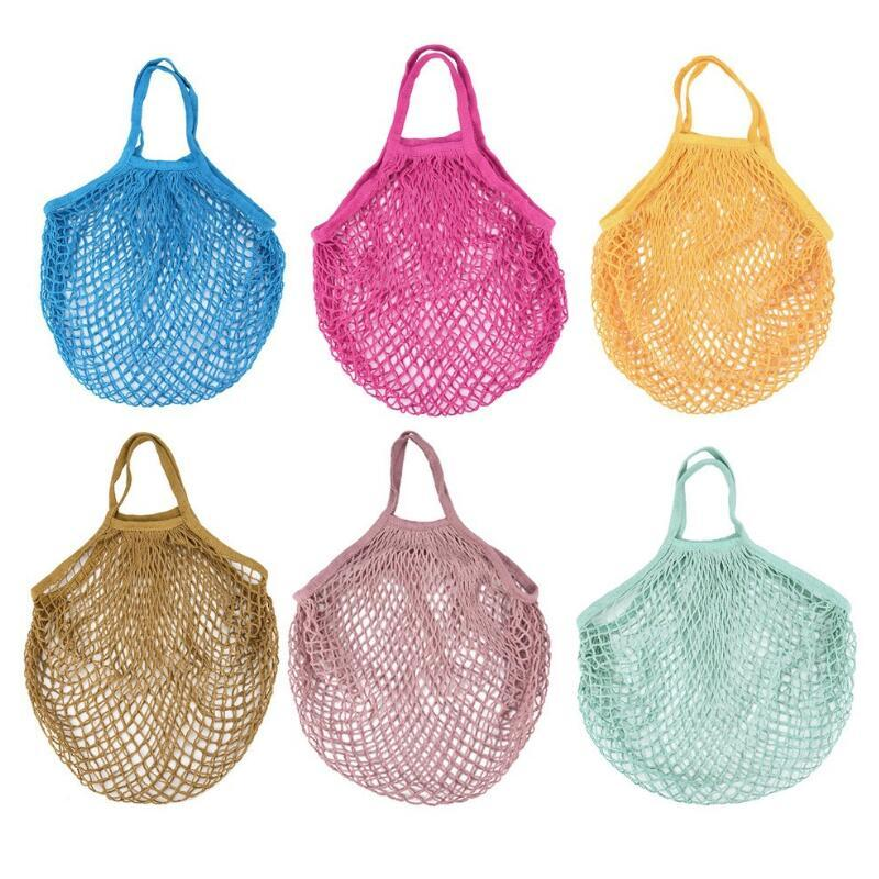 Shopping Bags Mesh Net String Bag Reusable Tote Vegetable Fruit Storage Handbag Foldable Home Handbags Grocery Tote Knitting Bag EWE1288