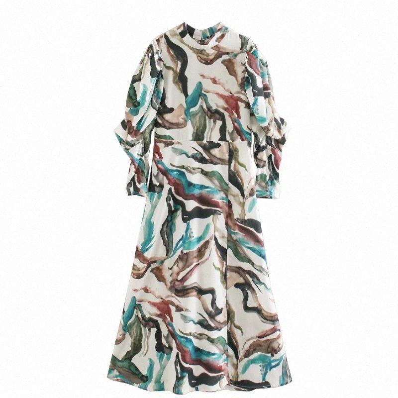 Nouveau Femmes Vintage Collier Stand Graffiti Impression Casual Robe mi-longue à manches bouffantes dames Retour Zipper Robes Chic Robes DS3277 ntVQ #