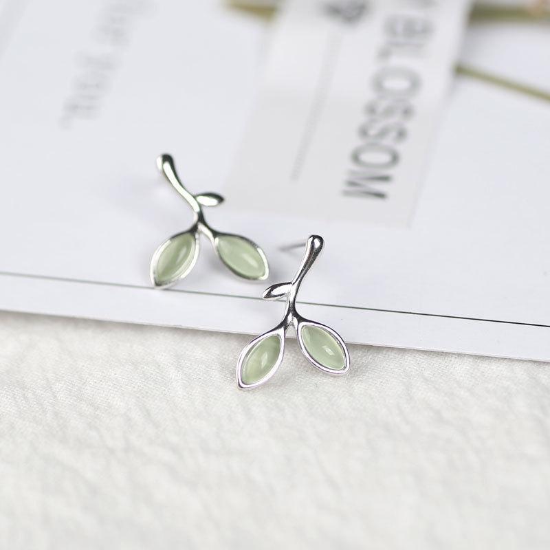 Forma Foglia Orecchino argento 925 orecchini per le donne Ear Opal Green Stone Trafitto orecchini