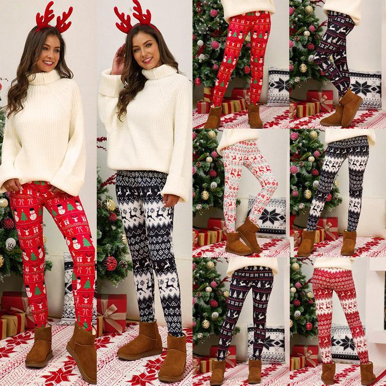 Plus Size Christmas Leggings Pant Xmas Tree Snowflake Elk Printing Pants Skinny Tights Legging Women Bootcut Pants Trousers S-5XL E111105