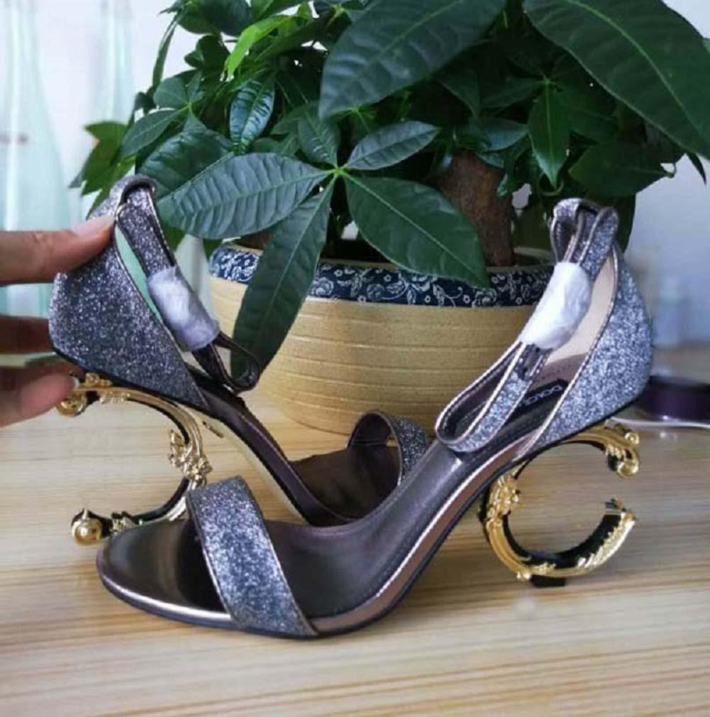 Clássicos Mulheres Sapatos Sandálias Moda Praia Espessura Chinelos De Fundo Alfabeto Senhora Sandálias Couro Sapatos de Salto Alto Slides 21