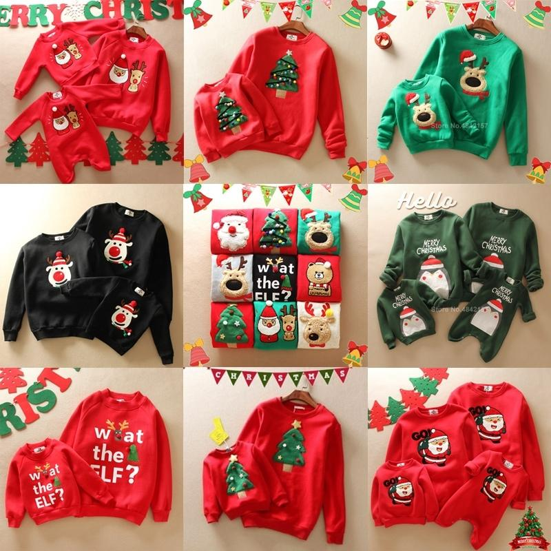 Толстые семейные рождественские свитера Новый год выглядят подходящие наряды Санта-Клаус вышивка мультфильм папа мама и мультфильма одежда 201128