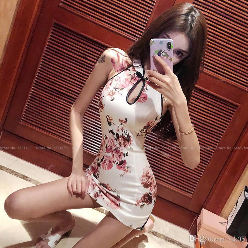 7style mujeres sin mangas Slim Qipao estilo chino elegante retro cheongsam fiesta club sexy bodycon mini vestido vintage vestidos