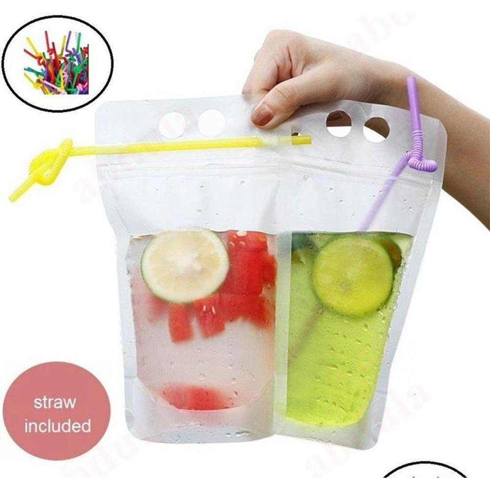 Café jetable double 500 ml reclosable boire de boisson de boisson sachets sacs sacs à fermeture à glissière de paille Bdebaby sac avec plastique QYLXZ liquide CNPDE