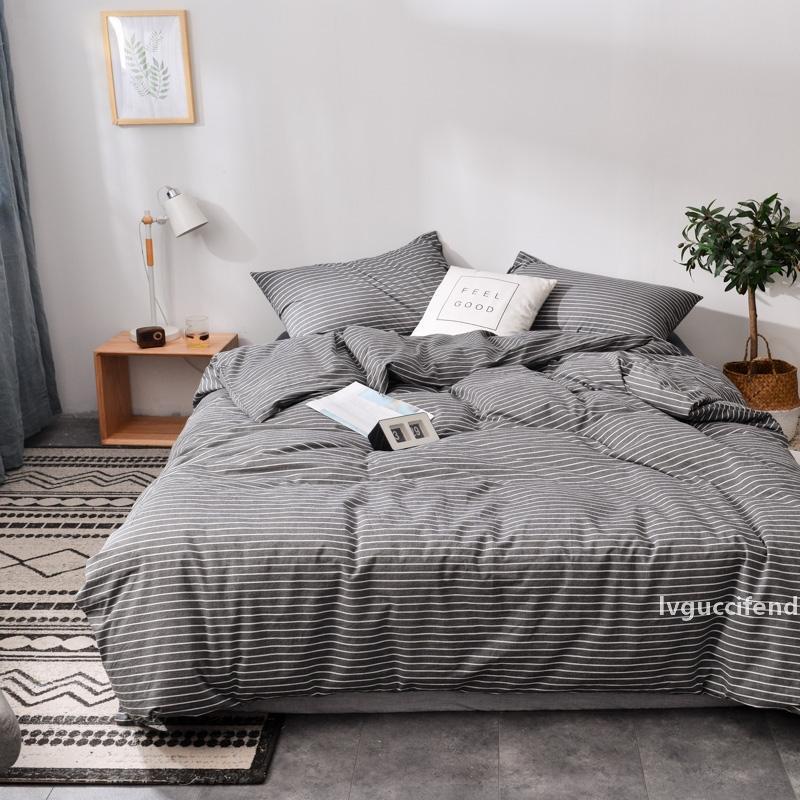 Scuro strisce grigie in stile giapponese morbido cotone 100% cotone Lavaggio 3/4 pezzi set di biancheria da letto (piumone lamiera piana di copertura federa)