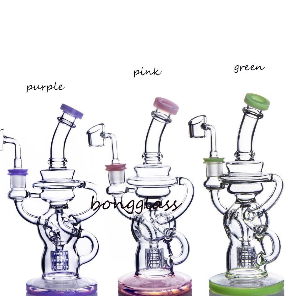 나선형 perc 봉지 석유 캐쳐 재활용품 DAB 조작 유리 물 봉지 흡연 액세서리 유리 오일 버너 파이프 애쉬 포수 14mm
