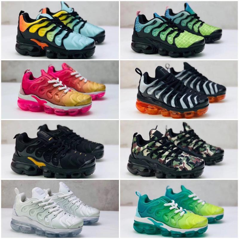 Chaussures enfants Tn plus Chaussures de course pour nourrissons grands garçons filles Camo Noir Blanc Sport Chaussures Run, plus TN Designer Shoes
