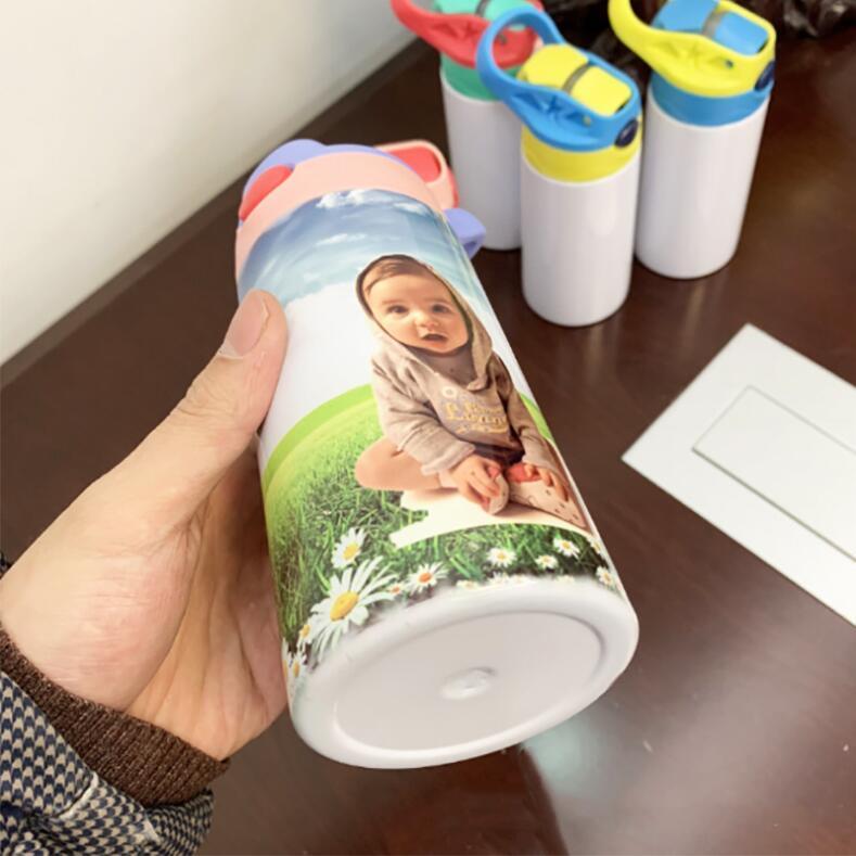 12 Unzen Blank Sublimation Schnabeltasse 6 Farben 350ml Kinder Wasserflasche mit Stroh Deckel Edelstahl Trinken Tumblers SEEverschiffen CCA12598A