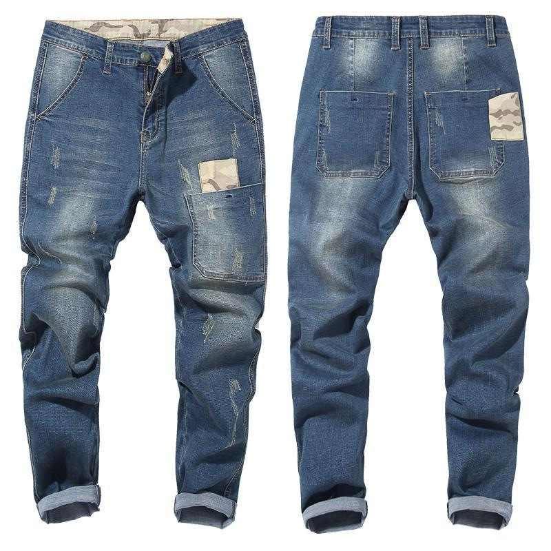Compre Jeans Para Hombre 2020 Camuflaje Costura Elastica Pantalones Pantalones Hombre Marca Negro Azul Mas El Tamano 42 44 46 48 De Gran Tamano A 21 28 Del Blueberry12 Dhgate Com