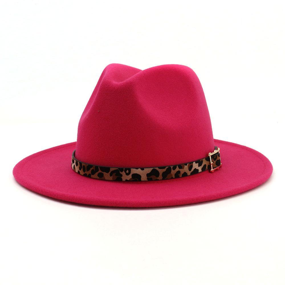 Luxe-13 couleurs tendance unisexe plat Brim jazz en feutre de laine Fedora Chapeaux Hommes Femmes Leopard Grain bande de cuir Décor Trilby Panama Chapeau officiel