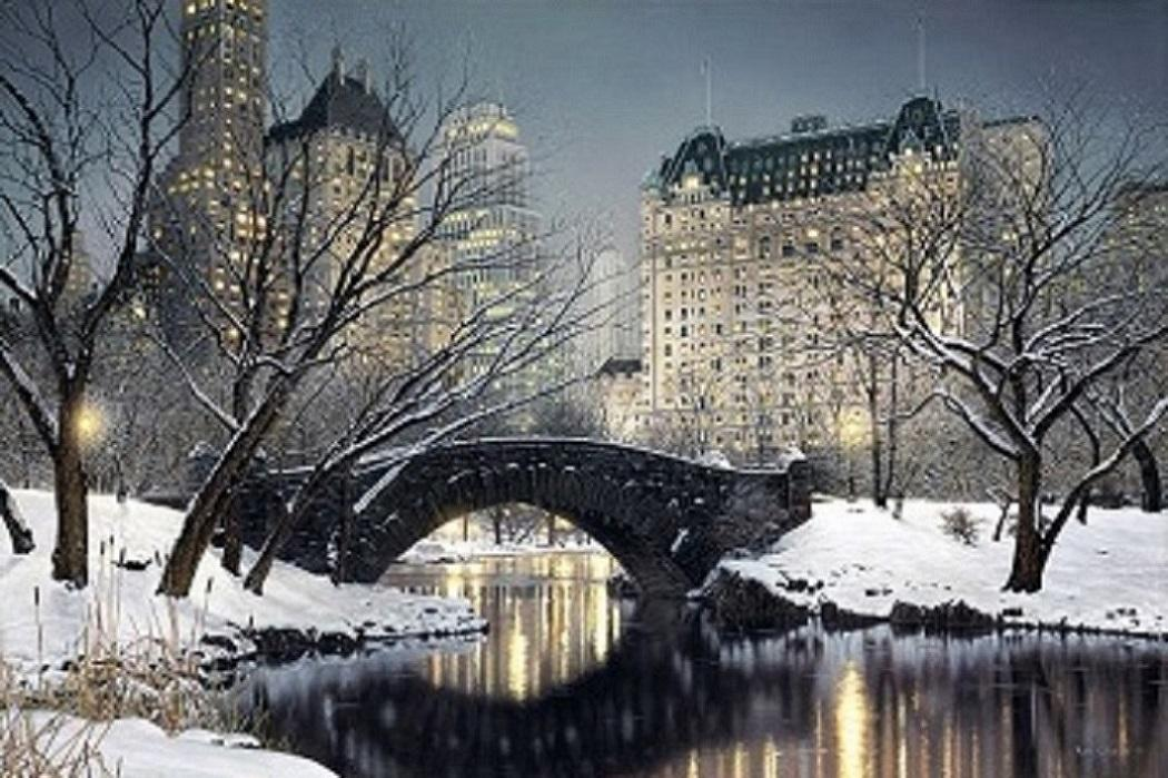 .5 Twilight in Central Park by Rod Chase Handpainted &HD Print City Landscape Art Oil Painting On Canvas Various Sizes skeb