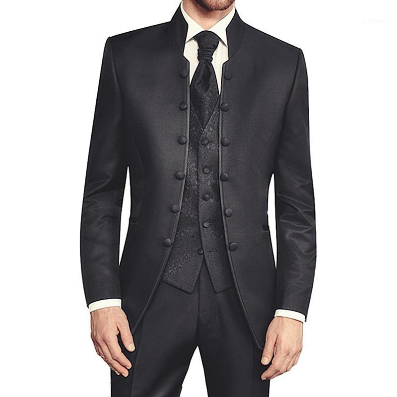 Schwarze Tunika Bräutigam Smoking für Hochzeit Retro Slim Fit männer Anzüge mit Stehkragen Zweireiher 3 Stück Set (Jacke Pants Weste) 1