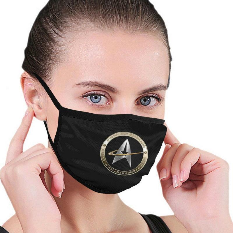قابل للغسل قابلة لإعادة الاستخدام نجمة الرحلات الفم قناع مكافحة الغبار نصف الوجه قناع الفم للرجال النساء الغبار مع حلقات الأذن الأسود