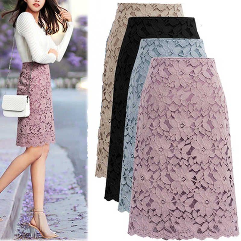 Летние плюс размер кружева элегантный офис женский карандаш бандаж юбка для женщин юбки длиной колена высокая талия 2020
