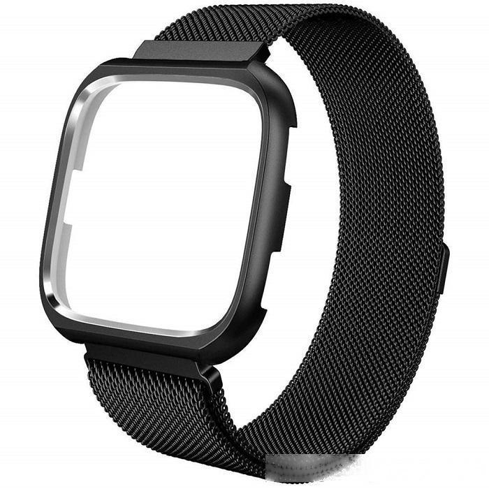 Metalbands Kompatibel Versa Uhr mit Rahmen, Edelstahl Milanese Schleife Mesh-Breathable Replacement Magnet-Verschluss-Armband mit Kasten
