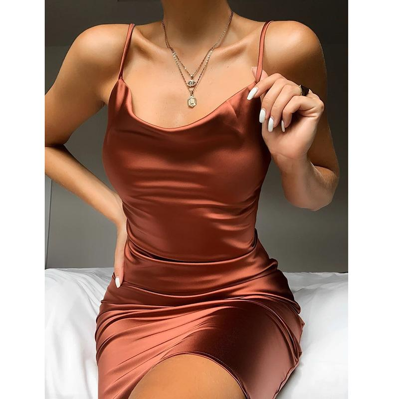 Ordifree 2020 Summer Women Satin Slip Dress Sexy Spaghetti Strap Burgundy Black Sleeveless Vintage Silk Party Dress Y0118