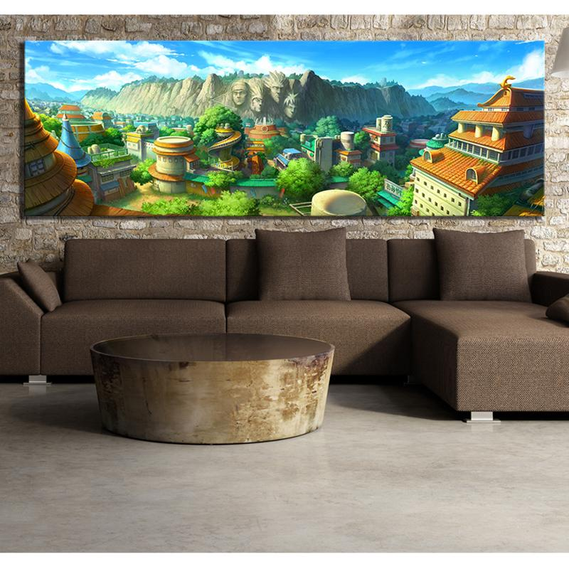 1 шт. HD мультфильм картина Konohagakurenosato Naruto аниме плакат холст художественная роспись стены для спальни стены декор LJ201128