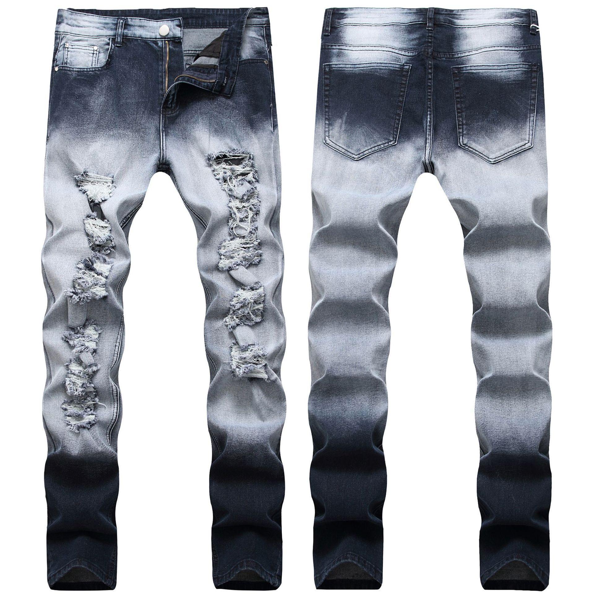 Sıska Erkek Mavi Kot Serin Erkekler Kot Streç Slim Fit Düz Denim Biker Jeans Hip Hop Erkekler Streetwear 1981 #