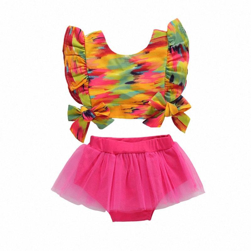0-12 Months Newborn Girl Summer Clothes Colorful Ruffle Trim Sleeve Bowknot Crop Tank + Mesh Shorts Baby Girls Sets Moag#